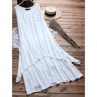 Plus Size Women Sleeveless A-line Layered Maxi Dress
