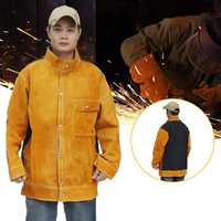 Jacket Cow Cowhide Welding Leather Apron Protective Coat Soldering Safety Apparel Flame-proof Clothes