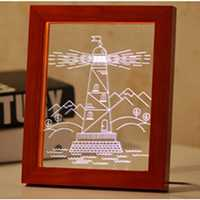 KCASA FL-733 3D Photo Frame Illuminative LED Night Light Wooden Watchtower Desktop Decorative USB Lamp for Bedroom Art Decor Christmas Gifts