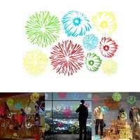 Multi-color Firework Stickers Creative Home Shop Window Showcase Decal Decor