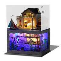 T-Yu DIY Hawaii Villa Wooden Miniature Dollhouse Kit Birthday Christmas Gift Doll House Collection