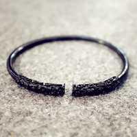 Unisex Retro Golden Cudgel Silver Gold Black Cuff Bracelets
