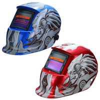 Solar Auto Darkening Welding Helmet Tig Mask Grinding Weldingr Mask Red Blue Robot Pattern