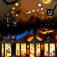 LUSTREON Battery Powered Hanging Lantern Holiday Light Pumpkin Flame Lamp for Halloween Decor DC4.5V