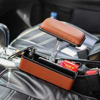 PU Car Seat Crevice Gap Storage Box Organizer Holder with Elbow Support Armrest Cushion Pedal
