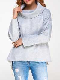 Casual Women Pure Color High Collar Long Sleeve Hood