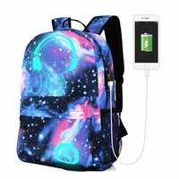 Men's Galaxy Pattern Anti Theft Laptop Bag Backpack Travel Bag With External USB Charging Port