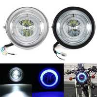 Universal Motorcycle Angel Eye LED Headlight Running Light Hi / Lo Beam