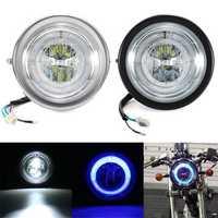 Universal Motorcycle Angel Eye LED Headlight Running Light Hi / Lo Beam