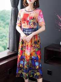 Elegant Women Floral Print Short Sleeve Dress