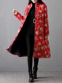 Plus Size Vintage Women Floral Printed Coats