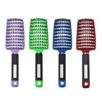 Hair Scalp Massage Comb Bristle Nylon Curly Hairbrush Anti-static Curved Row Hairdressing Tools