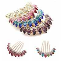 Charming Unique Colorful Wedding Bride Shiny Rhinestone Hair Leaf Crown Hair Combs