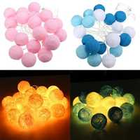 Battery Operated 20LEDs Warm White Cotton Ball Fairy String Light for Wedding Christmas DC4.5V