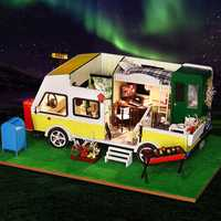 iiE CREATE DIY Doll House K-037 Leisure Holiday Recreational Vehicle With Cover Music Movement