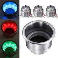 14 LED Stainless Steel Cup Drink Holder Polished For Marine Motorboat Car Truck RV