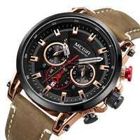 MEGIR 2085 Military Date Chronograph Leather Men Watch