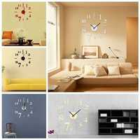 DIY Mini Modern Art Mirror Wall Clock 3D Sticker Design Home Office Room Decor