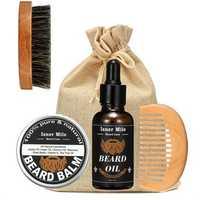 1 Set Shaving Tool Barber Oil Brush Comb Wax Balm for Men