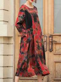 Abstract Printing Patchwork Dress