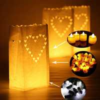 Big Heart Pattern Tea Light Holder Paper Lantern Candle Bag for Christmas Party Wedding Decoration