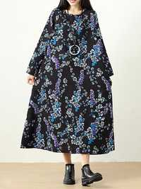 Plus Size Vintage Women Floral Printed Maxi Dress