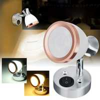 12V 3W LED Interior Frosted Glass LED Mini Spot Light Reading Night Lamp for Caravan Cabinet