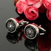 Men Cuff Links Unique Cloisonne Compass Cuff Links Wedding Business Accessories for Shirt
