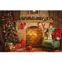 7x5FT Christmas Tree Fireplace Chair Gift Photography Backdrop Studio Prop Background