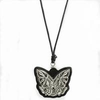 Vintage Black Sandalwood Ethnic Silver Butterfly Charm Neckl