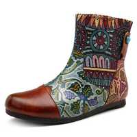 SOCOFY Handmade Color Match Pattern Leather Ankle Boots