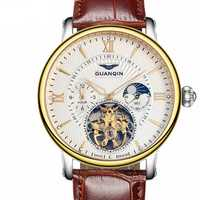 GUANQIN GJ16036 Skeleton Moon Phase Auto Mechanical Watch