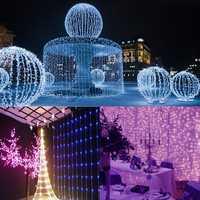 3Mx3M 300 LED White Bulb Fairy String Light Curtain Lamp Wedding Party Wedding Decor Outdoor Li