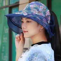 Women Foldable Double-sided Wear Summer Sun Empty Top Hat