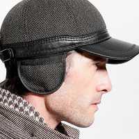 Men Winter Warm PU Woolen Baseball Cap With Ears Flaps Outdoor Snapback Hats Adjustable