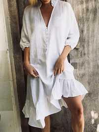 Women V Neck Ruffle Pure Color Belt Irregular Dress