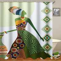 Fashion African Woman Pattern Waterproof Polyester Fabric Shower Curtain for Bathroom