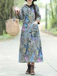 Women Floral Print Cotton Linen Button Hooded Long Coats