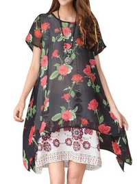 Folk Style Short Sleeve Floral Fake Two Pieces Women Dresses
