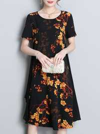 Women Short Sleeved Floral Chiffon Dress