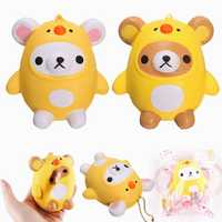 SanQi Elan Squishy Bear Wearing Chicken Costume Licensed Soft Slow Rising With Packaging Cartoon Decor Gift