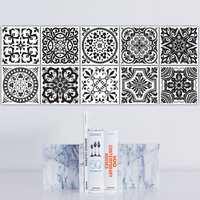 Funlife Black And White Retro European Bathroom Tile Plaster Anti-Oil Plaster Bathroom Wall Plaster Wall Stickers