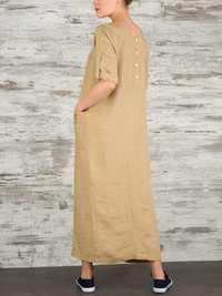 Women Elegant Pure Color Crew Neck Button Back Long Dress