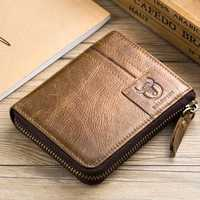 Bullcaptain Leather Wallet Vintage Zipper Card Holder
