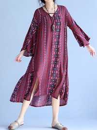 Casual Loose Women Flared Sleeve V-Neck Printed Side Slit Swing Dresses