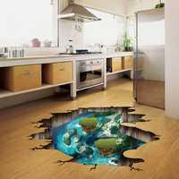 Miico Creative 3D Dream Float Sea Island Broken Wall Removable Home Room Decorative Wall Floor Decor Sticker