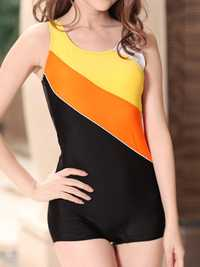 Sport Patchwork Professional Boyshorts One-Pieces Swimwear
