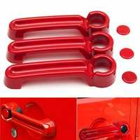 Red Exterior Door Handle Cover Handle Hood For Jeep Wrangler 2 Doors 2007-2016