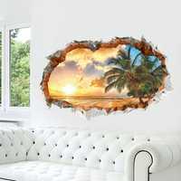 Miico Creative 3D Sunshine Beach Coconut Palm Broken Wall Removable Home Room Decorative Wall Door Decor Sticker