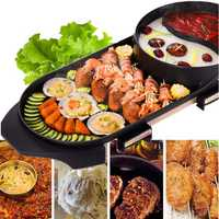 220V Electric 2 in 1 Hot Pot Oven Non-stick Smokeless Barbecue BBQ Machine Pot BBQ Grill Pan